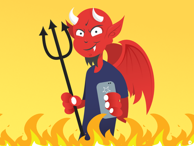 MG Devil website illustration devil phone characters illustration