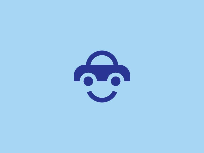 Friendly car logo car smile funny blue simple