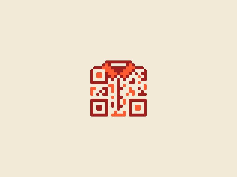 Shopdrobe qr logo app pixel shirt orange