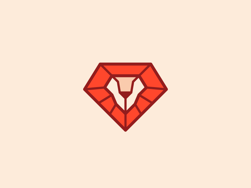 Lviv Ruby User Group lion diamond red logo ruby