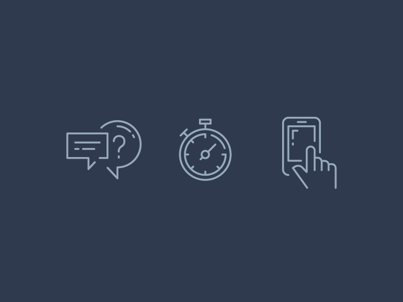 Proactive icons icons blue lines timer chat mobile
