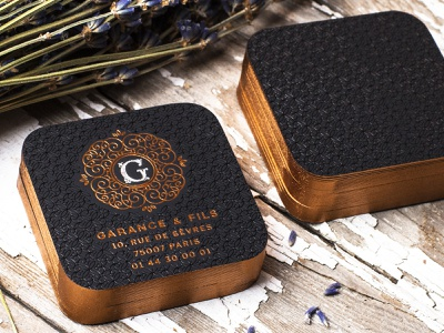 Luxurious Garance & Fils Business Cards foil edges painted edges foil stamped foil stamp business card die cutting business cards design typography design branding business card design business cards