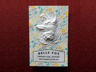 Belle Fox Business card with Letterpress and 3d Embossing flowers fox design 3d embossing embossing letterpressed letterpress branding cotton paper business cards business cards design typography business card design business card