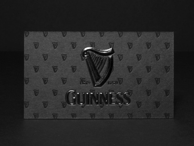 Guinness Business Cards With Black Embossing guinness embossing foil stamped branding typography business cards business card design