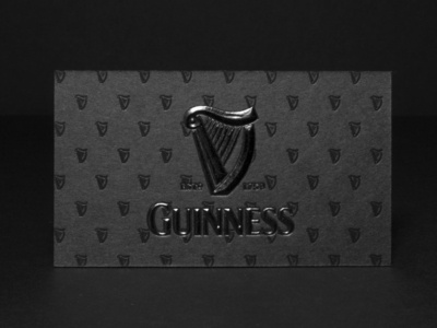 Guinness Business Cards With Black Embossing