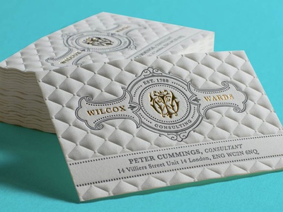 Wilcox Wards Business cards with Embossing monogram cotton paper letterpress foil stamped illustration 3d embossing business cards branding design embossing business cards design typography business card business card design