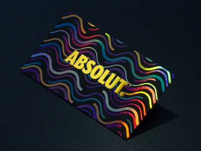 Absolut Business Cards with Multi Foil typography branding foil stamped business cards design business cards business card business card design