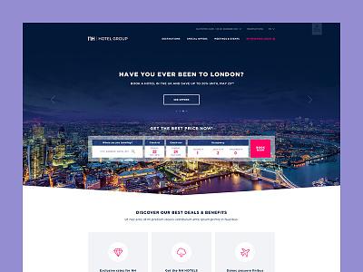 Hotel proposal hotel home desktop flat ui clean homepage service responsive web website