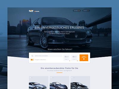 Luxury Cars ui flat responsive screendesign clean cars luxury home web website startpage orange
