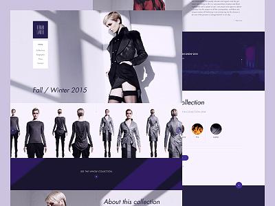 H L ux ui screendesign clothes model fresh flat responsive homepage web purple fashion