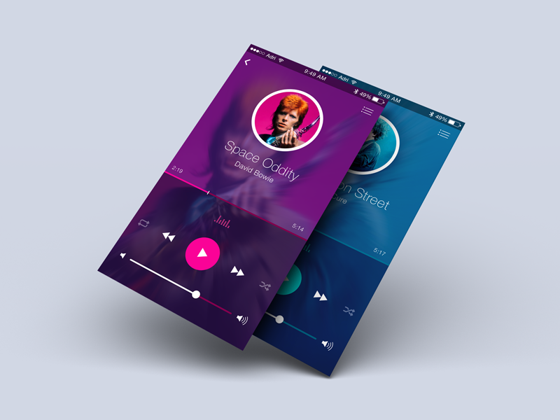 Music Player bowie design ui ios player music iphone app