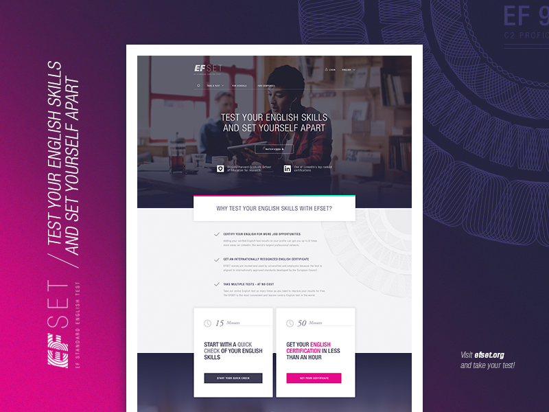 English Test online test screendesign ux ui education flat startpage responsive home