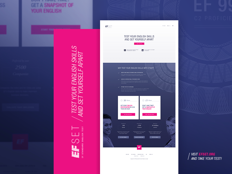 English Test (concept) home responsive startpage flat education ui ux screendesign online test