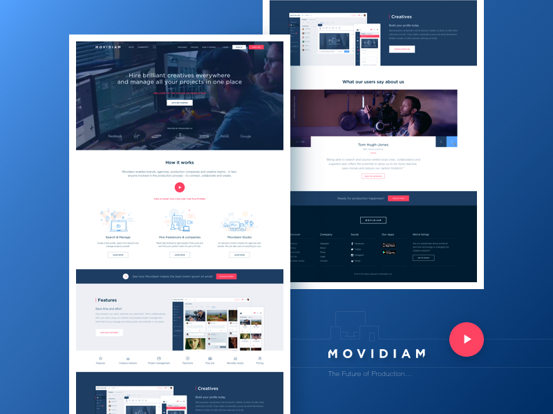 Movidiam responsive redesign website startpage movidiam production homepage ux ui