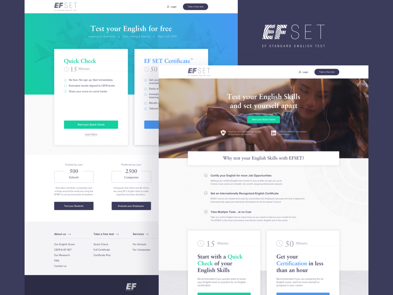 EF SET Website product design ux ui ui design