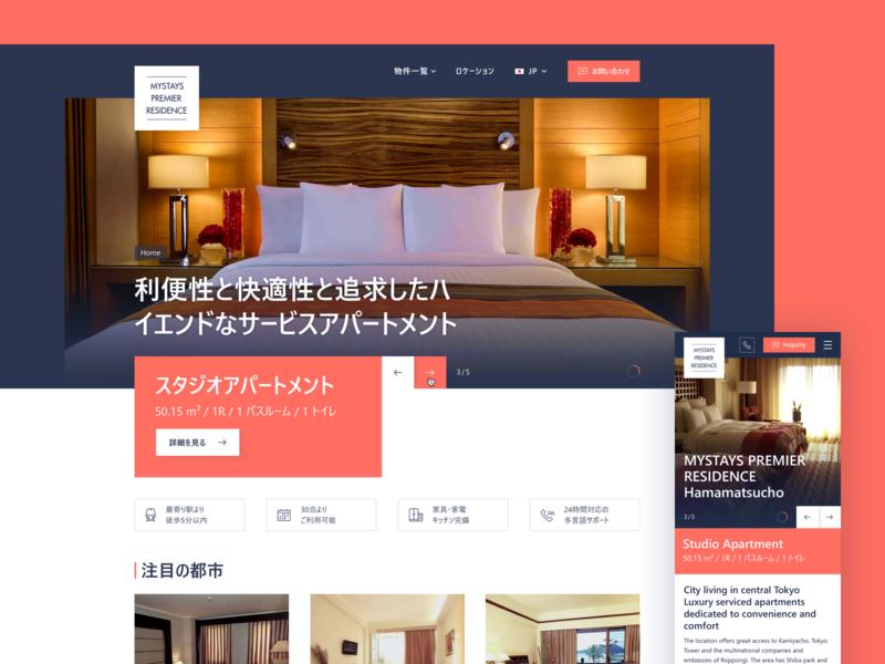 Mystays Premier   Residence II website screendesign design web flat responsive homepage ux ui
