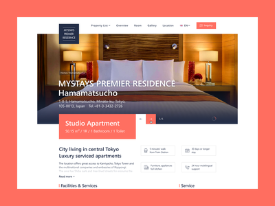 Mystays Premier   Residence III redesign design webdesign clean flat responsive homepage home web screendesign ux ui