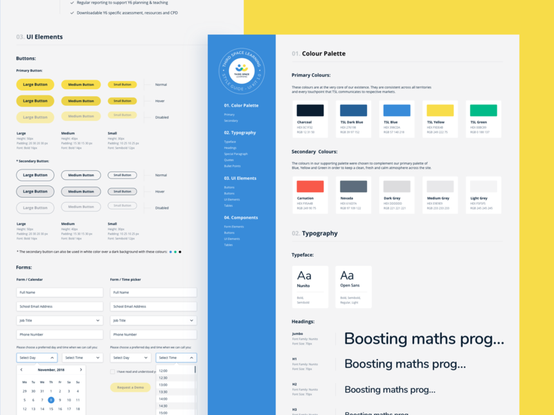 Third Space Learning Styleguide design system ui kit style guide