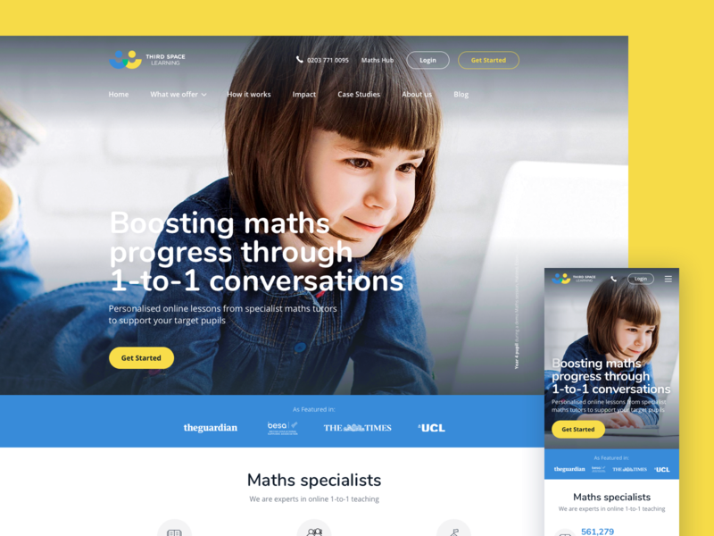 Third Space Learning tuition mathematics teaching webdesign ux ui home responsive