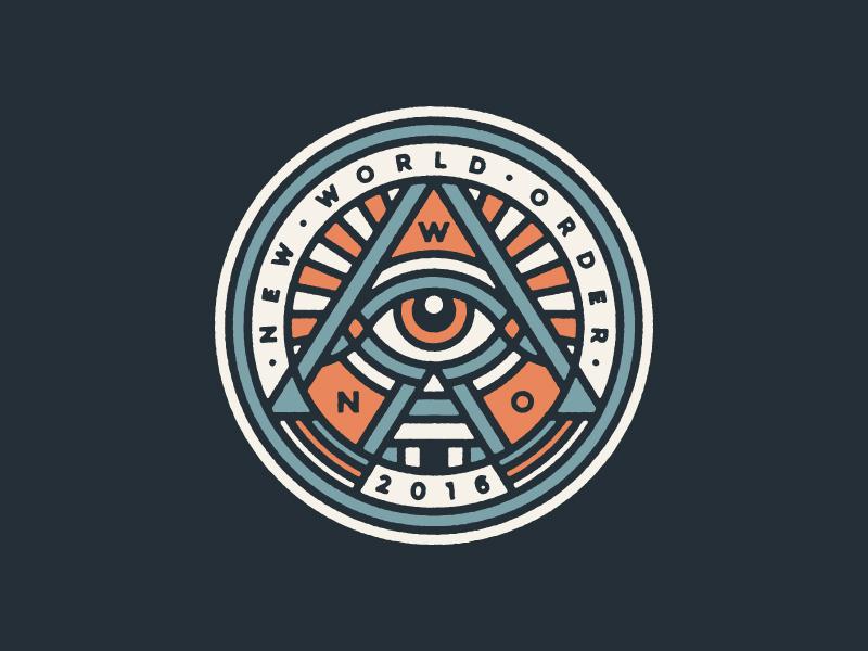 Fantasy Football Team Logo pyramid eye monoline logo illuminati. new world order fantast football