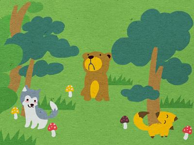 Animals in forest game design fox wolf bear animal illustration