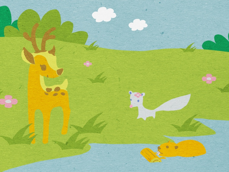 Animals in the wetland game design beaver mink dear animal illustration