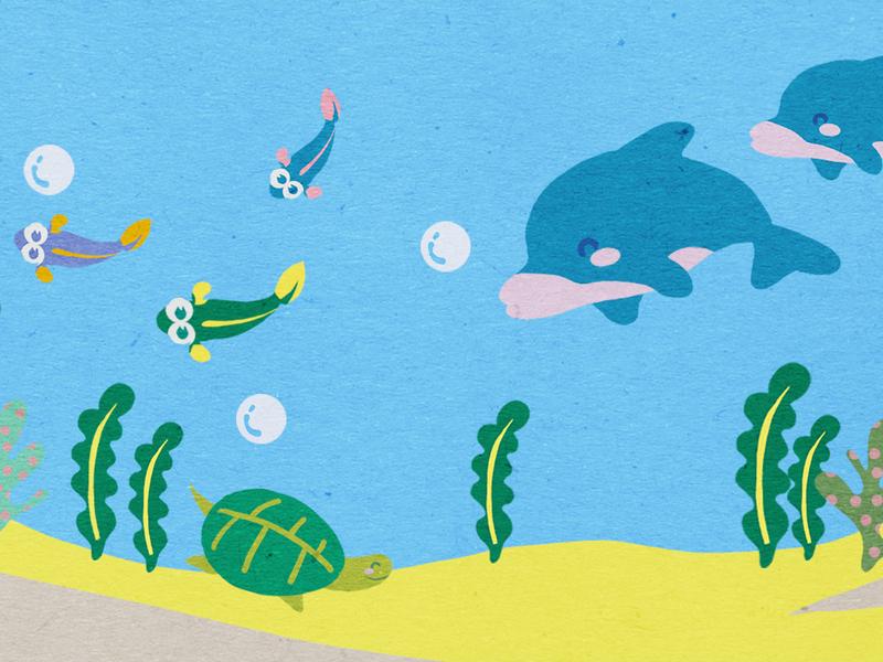 Animals in the ocean turtle dolphin game design animal illustration