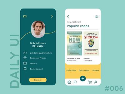 #DailyUI 006 - Personal library | User Profile 006 library books userprofile design figmadesign 100daychallenge uidesign ui figma dailyui daily 100 challenge 100daysofui