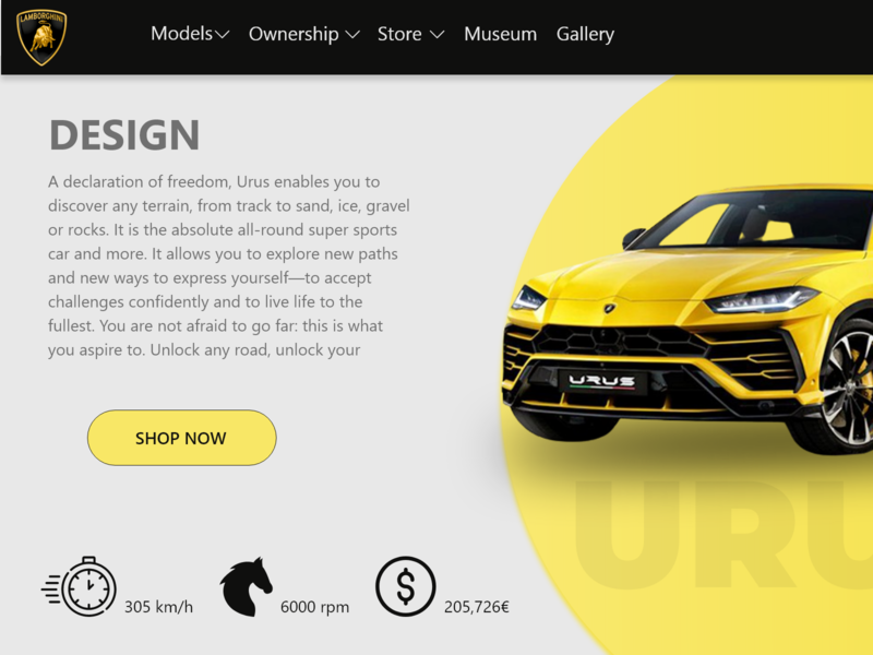 Web design for lamborghini graphic design website flat web typography vector design logo branding illustration