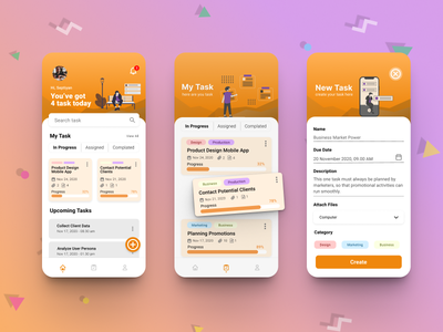Task Management App mobile app mobile mockup uiuxdesign typography design ux app ui