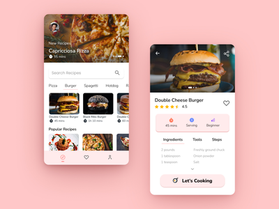 Cooking Recipes App Design ux uiuxdesign ui mockup mobile app design app