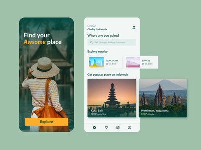 Hotel Booking App Design bali indonesia clear clean book green onboarding design booking travel hotel app mockup ui ux