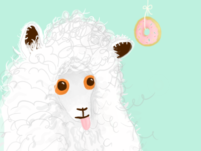 This little alpaca wants a donut