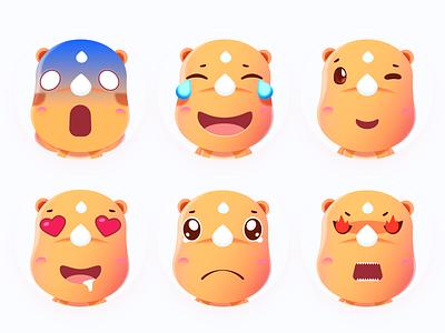 Mascot UU emoji lol cute illustration rhinoceros emoji mascot