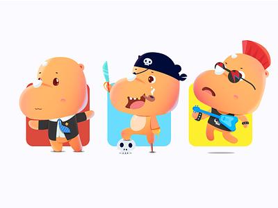 Rhino UU skull office pirates music rock rocker rhino illustration lol cute boss mascot