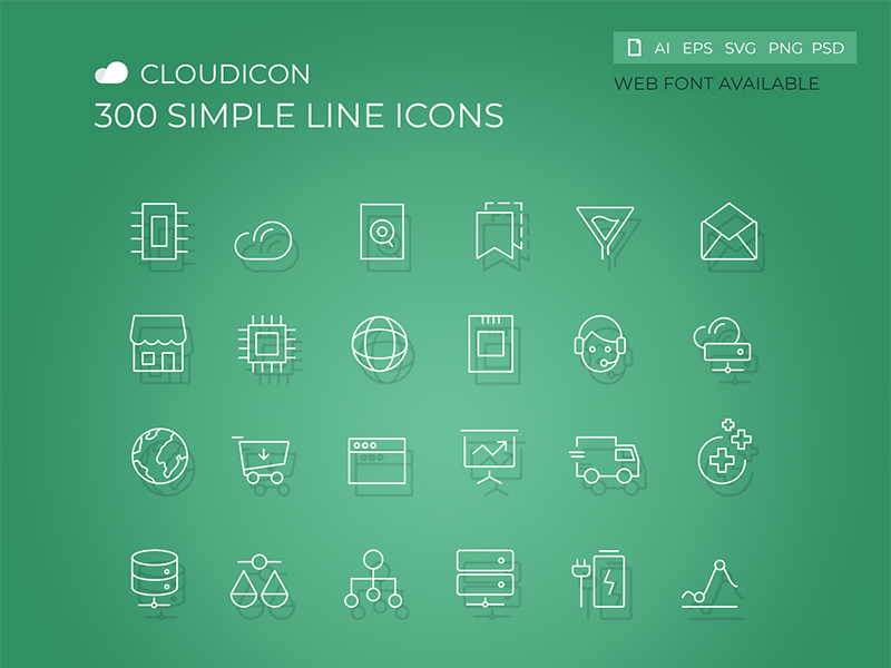 Cloudicon - 300 Simple Line icons typography web vector shape line screen pictogram photoshop navigation mobile interface glyphs editable business corporate illustration hosting design cloud icons set