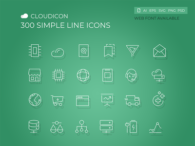 Cloudicon - 300 Simple Line icons typography web vector shape line screen pictogram photoshop navigation mobile interface glyphs editable business corporate illustration hosting design cloud icons set