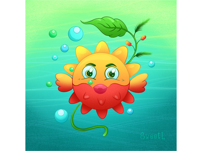Sea urchin - fish Molly cartoon character underwater water 2d branding illustratorukraine 2d art sweetl sea animals oceam sea urchin fish