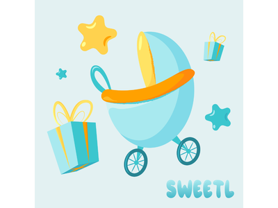 Babies print - a stroller and a gift for a boy illustratorukraine branding vector sweetl 2d art toddler love stars gifts carriage born family childhood child kiddy kids boy birtday newborn baby
