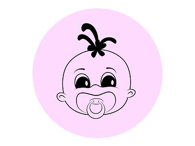 Baby girl - doodle icon digital illustration logo design branding vector ukraine sweetl doodle clipart logotype cartoon character family childhood child tiny toddler kiddy babies baby
