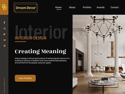 Dream Decor - Interior Design Homepage UI Design - Dark Theme mockup female designer mumbai website homepage interior illustration ui figma design