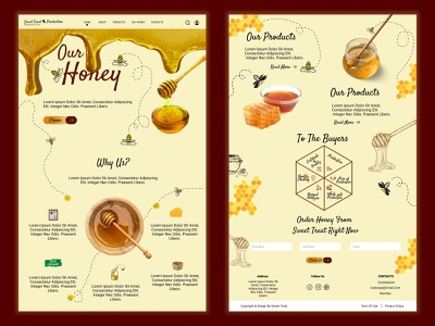Honey Production website Branding and UI Design honey comb honeybee production honey vector logo illustration app company ux branding figma ui design
