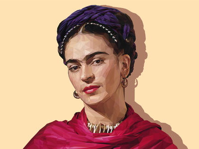 Frida Kahlo Low Poly Illustration fridakahlo frida vector low polygon illustration illustrator visual low poly
