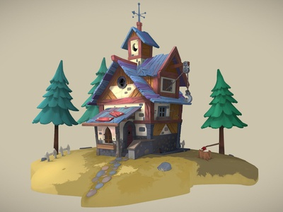 HOUSE game art 3dmodels architecture house 3dcoat adobe photoshop blender3d
