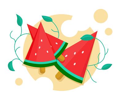 Summer illustration flat summer illustration summertime summer vectorartwork vectorillustration vectorart adobe illustrator vector illustration fruit watermelon illustration artwork art