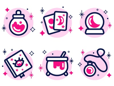Witch icons iconography icons pack iconset icon set witchcraft magic halloween witchy icons witch icons design vector illustration vectorillustration vectorart illustration flat artwork art