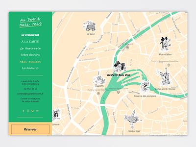 Au Petit Bois Vert - Custom Map branding illustration design restaurant webdesign custom map graphic design