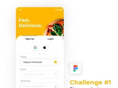 Sign up - Pizza App Delivery interface minimal design app ux ui