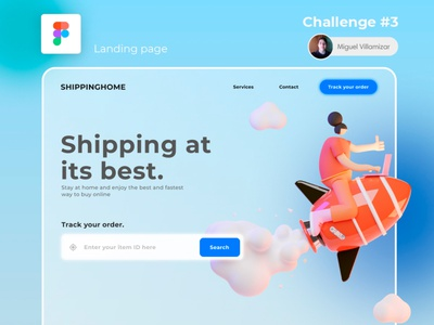 Shipping - Landing page design minimal ui design glassmorphism dailyui interface ux ui