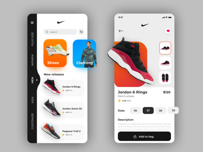 Shoes E-Commerce (Nike Re-Design) app design e-comerce e-commerce app ux design ui design interface app dailyui